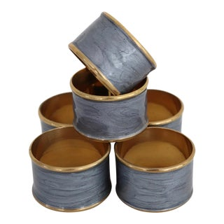 1970s Brass and Enamel Napkin Rings - Set of 6 For Sale