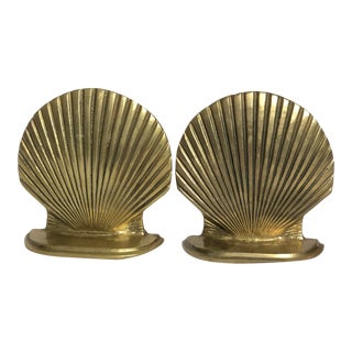 Vintage Brass Shell Bookends - a Pair For Sale