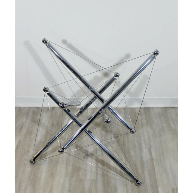 For your consideration is a funky, chrome, atomic dining table base, by Cassina Italy, circa the 1970s. In excellent...