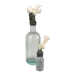 White Coral Topped Vintage Bottles - A Pair