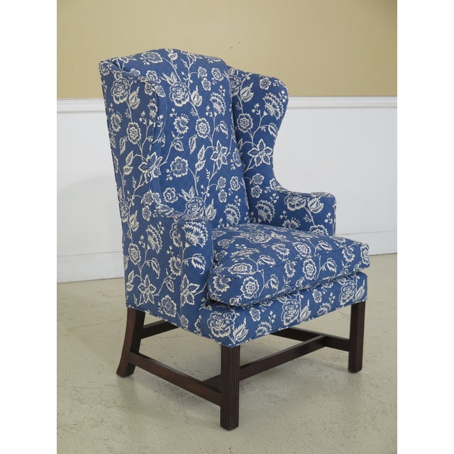 KITTINGER CW-12 Colonial Williamsburg Mahogany Blue Wing Chair Age: Approx: 75 Years Old Details: Colonial Williamsburg...