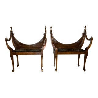 Pair, Antique Hall Chairs, Benches For Sale