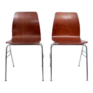 Pr. Royal Pagholz Mid Century Stacking Chairs For Sale