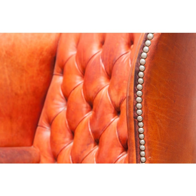 English Cigar Leather Tufted Wing Chairs - Pair - Image 10 of 10