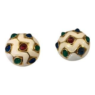 Antique Ciner White Enamel Gripoix Earrings For Sale