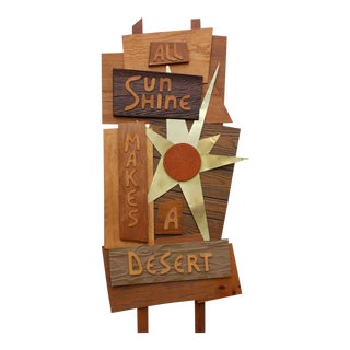 Vintage Mid-Century Modern Desert Wooden Sculpture Sign For Sale