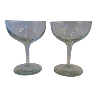 "Vintage Etched ""Chevron Oil Logo"" Champagne Coupes - a Pair"