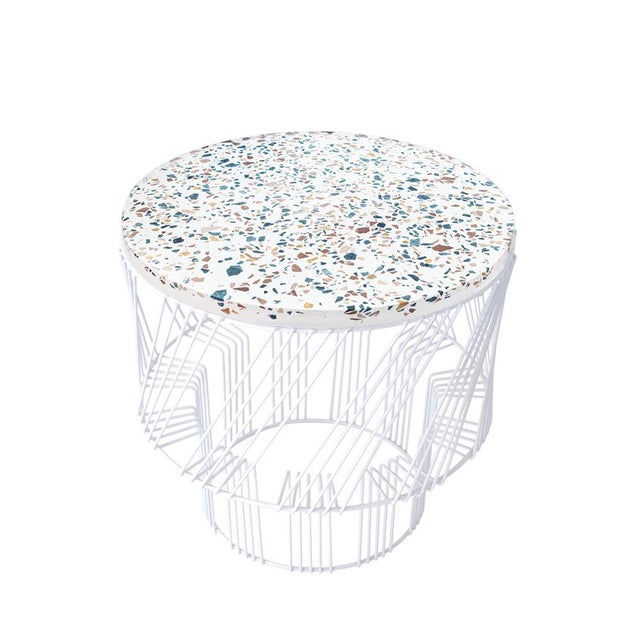 Contemporary Indoor/Outdoor Terrazzo Table in White For Sale - Image 9 of 9