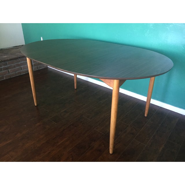Mid Century Modern Oval Table With Leaf - Image 11 of 11