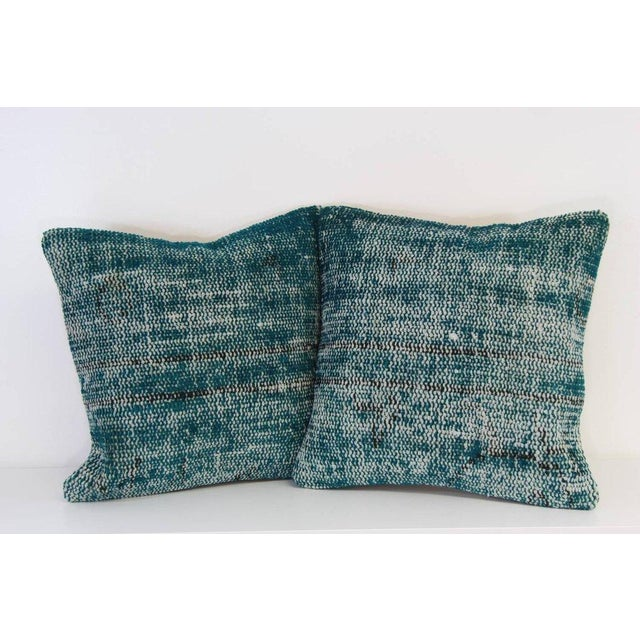 Turquoise Handmade Over-Dyed Rug Pillows - Pair - Image 2 of 7