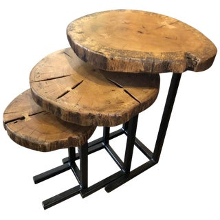Modern Live Edge Oak and Wrought Iron Nesting Tables - Set of 3 For Sale