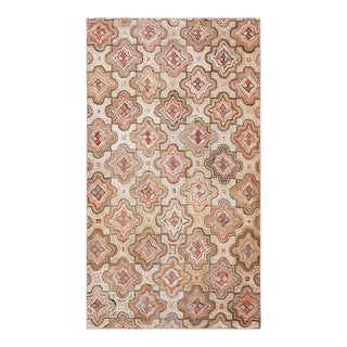 """Antique American Hooked Rug 4'0"""" X 6'9"""" For Sale"""