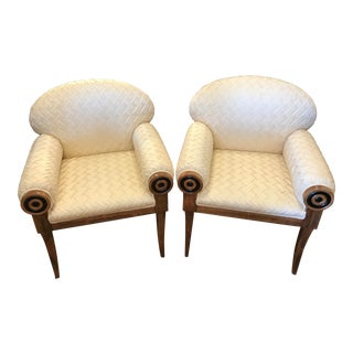 Pair of Art Deco Inspired Midcentury Club Chairs For Sale