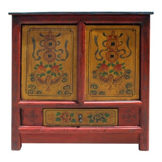 Distressed Rustic Chinese Tibetan Floral Red Yellow Side Table Cabinet For Sale