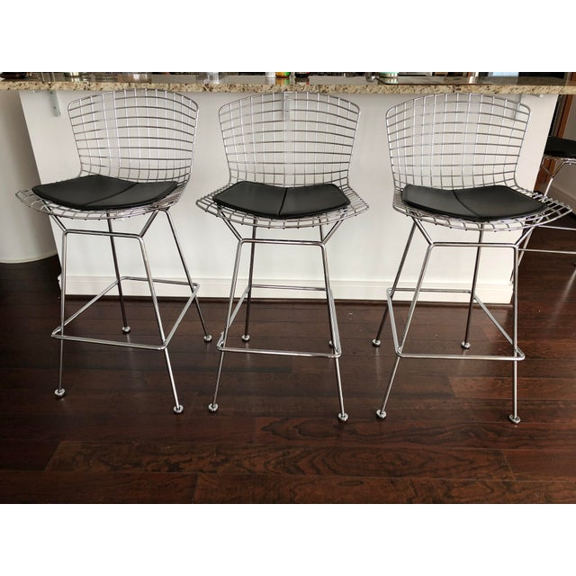 Bertoia Counter Stools With Seat Pads - Set of 3 - Image 11 of 11
