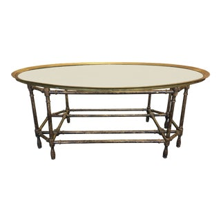 Baker Oval Glass Top Faux Bamboo Coffee Table