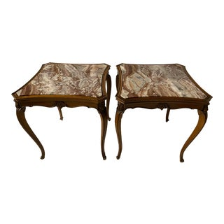 Louis XVI Style Marble Tables - Pair For Sale