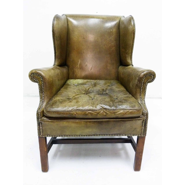 Distressed Leather 19th C. Wingback Chair - Image 2 of 10