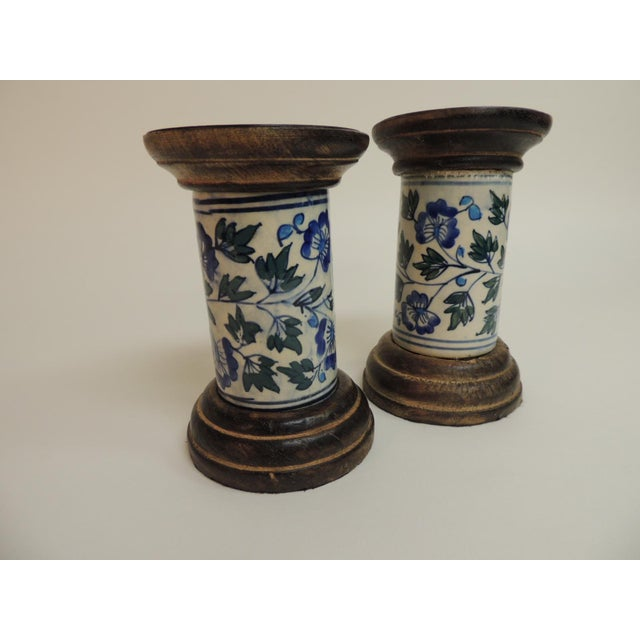Blue & White Floral Ceramic Candle Holders - A Pair - Image 5 of 5