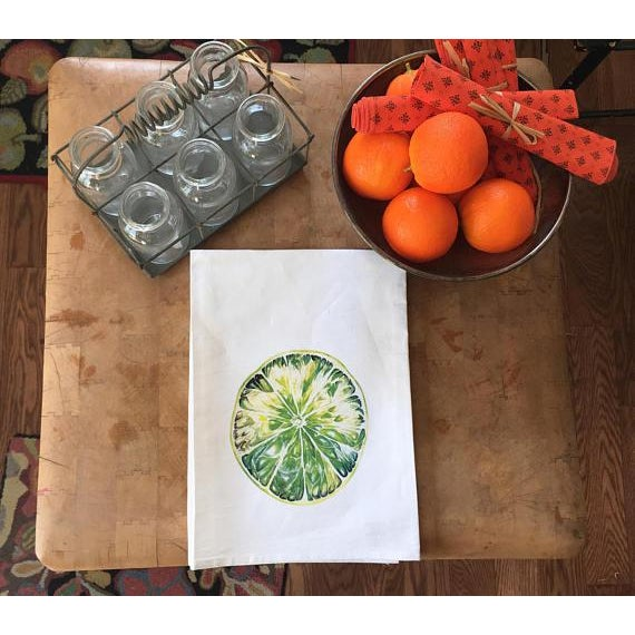 Contemporary Watercolor Lime Tea Towel For Sale - Image 3 of 5