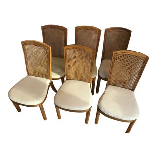 Drexel Accolade II Campaign Style Cane Back Dining Side Chairs - Set of 6 For Sale