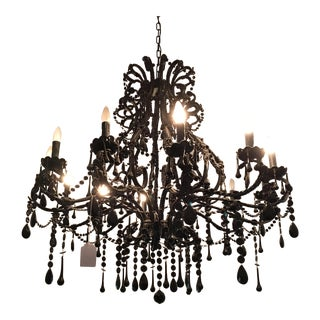 Black Murano Glass Crystal Chandelier