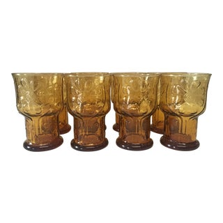 """1970s Vintage Libbey Country Garden 5"""" Water Goblet - Set of 8 For Sale"""