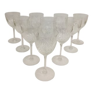 1990s Cut Crystal Stems Wine Glass - Set of 10 For Sale