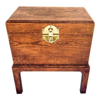 Traditional Fruitwood Box on Stand Side Table For Sale