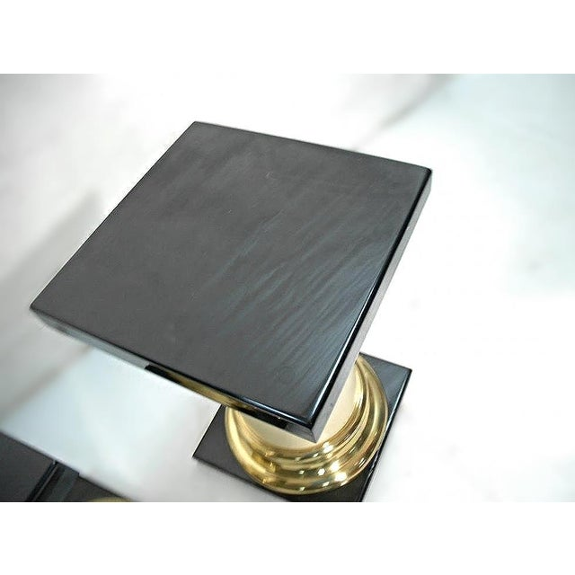 White Mastercraft Mid-Century Modern Lacquer Brass Pedestal Tables - A Pair For Sale - Image 8 of 9