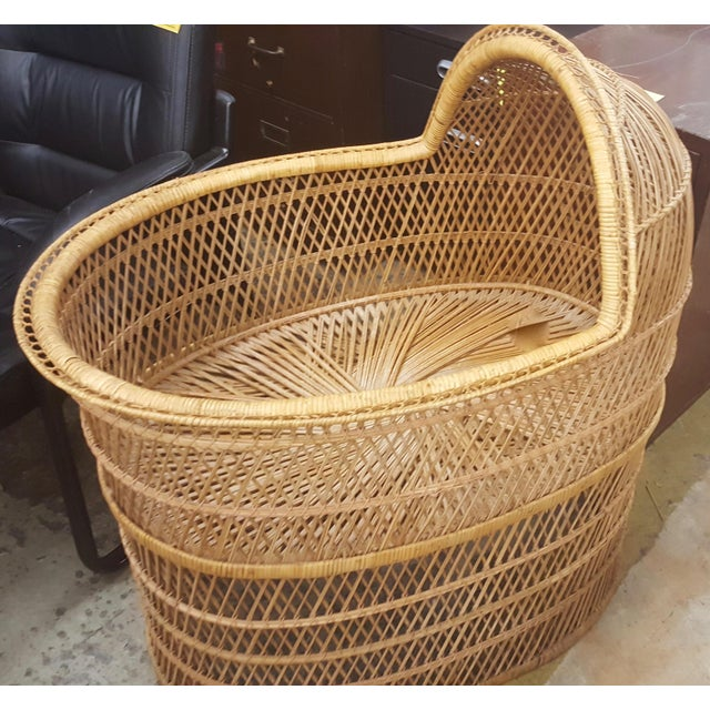 Boho Chic Wicker/Rattan Baby Bassinet For Sale - Image 3 of 4