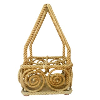 Rope Bottle Carrier Audoux Minet, Circa 1950 For Sale