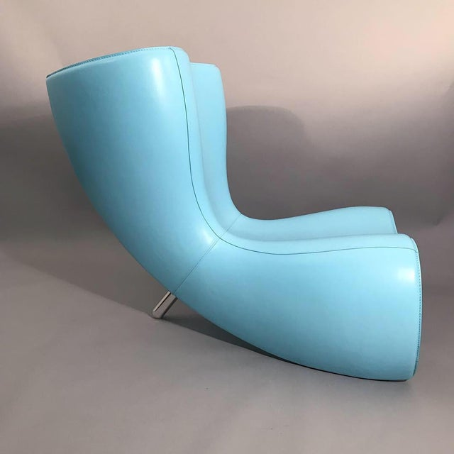 25th Anniversary Edition Marc Newson Felt Chair, for Cappellini. Fiberglass structure covered in baby blue leather. Signed...
