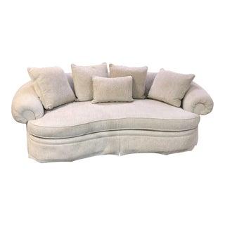 Ferguson Copeland Neutral Chenille Kidney Shaped Sofa For Sale