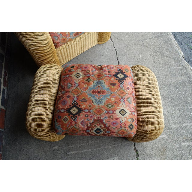 1980s Rattan Lounge Chair With Ottoman For Sale - Image 5 of 12