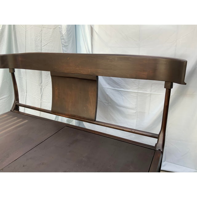 Wood Mid Century Modern Klismos Style Queen Bedframe For Sale - Image 7 of 8