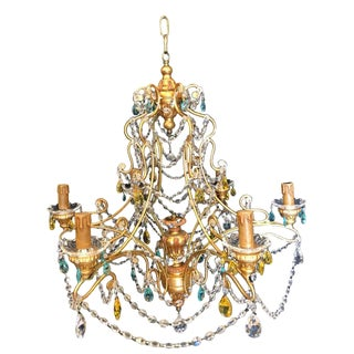 Neoclassical Handcrafted Italian Gilt Metal and Multi-Color Crystal Chandelier by Alba Lamp For Sale