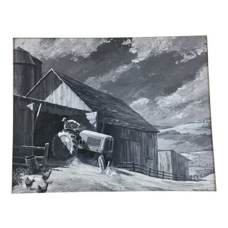 """1940's Vintage """"End of the Day"""" by Foster Caddell Jr. Drawing"""