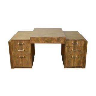 1970s Art Deco Interior Crafts Chicago Rosewood Partners Desk As-Is For Sale