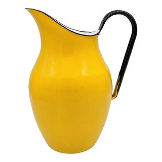 Mid 20th Century Vintage Yellow Swedish Style Enameled Pitcher For Sale