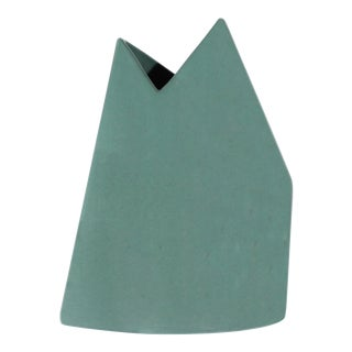 James Johnston Modernist Teal Geometric Vase For Sale