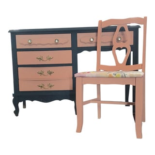 French Provincial Wooden Desk & Chair Set