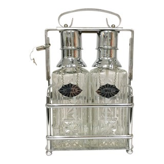 1940's Pressed Glass Tantalus Decanter Set - A Pair