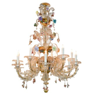 Antique Venetian Multi-Color Blown Glass Chandelier For Sale