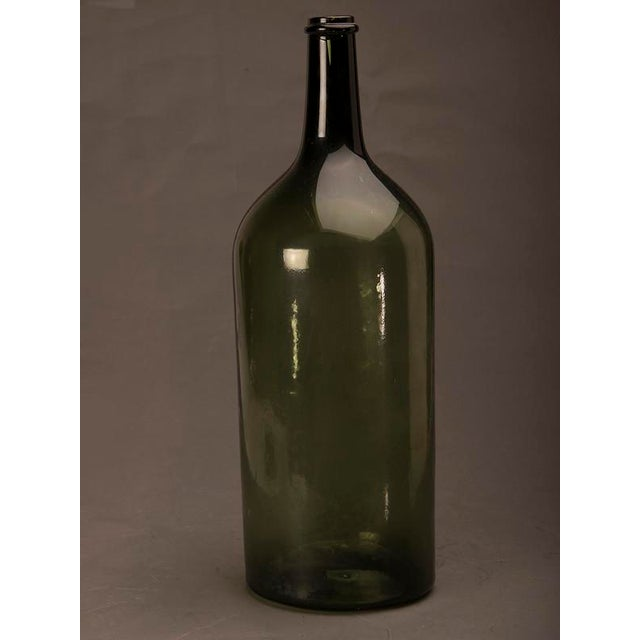 Tall green glass hand blown bottle from France c.1870 For Sale - Image 4 of 7
