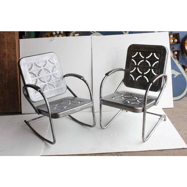 1950s Mid Century Metal Garden Chairs- A Pair For Sale - Image 5 of 6