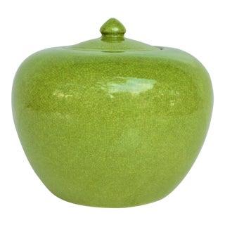 1980s Vintage Apple Green Crackle Ginger Jar For Sale