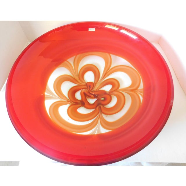 Evolution by Waterford Red Art Glass Round Platter For Sale - Image 11 of 12