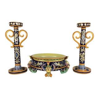 Italian Antique Majolica Center Bowl & Candle Sticks - Set of 3