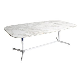 Eames Mid-Century Modern Calacutta Marble Dining Table For Sale